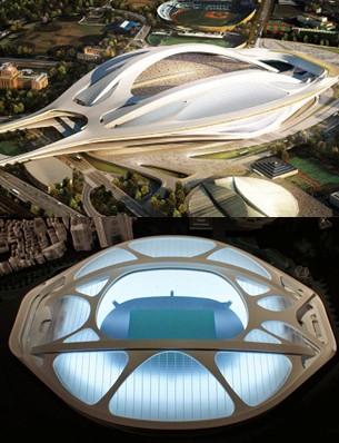 (上)コンペ当選のザハ・ハディドのパース、(下)オペラシティアートギャラリー展示の最新模型